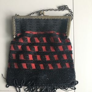 Vintage beaded purse black and red beading